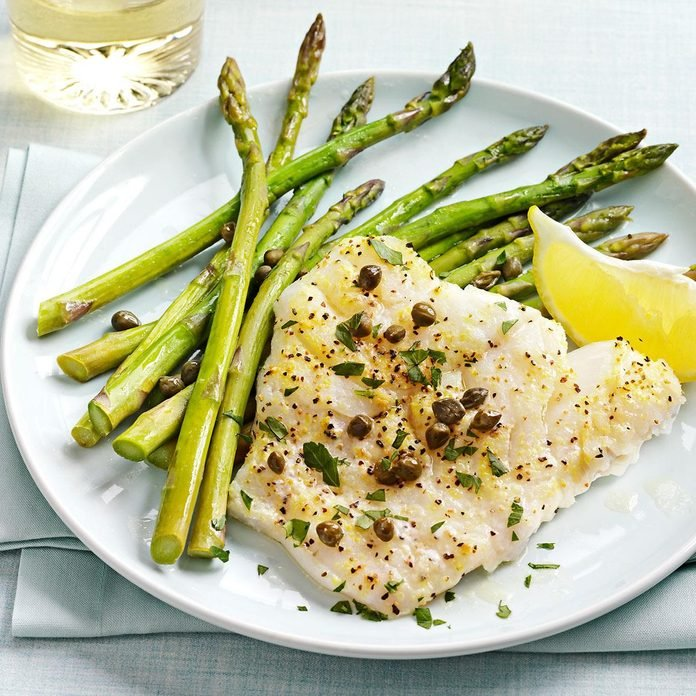 Baked Cod Piccata With Asparagus Exps161227 Th2379807b10 31 5bc Rms 2