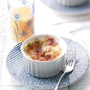 Baked Eggs with Cheddar and Bacon for Two