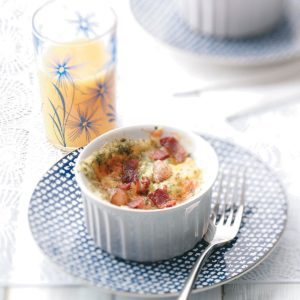 Baked Eggs with Cheddar and Bacon