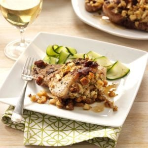 Baked Pork Chops with Apple Stuffing