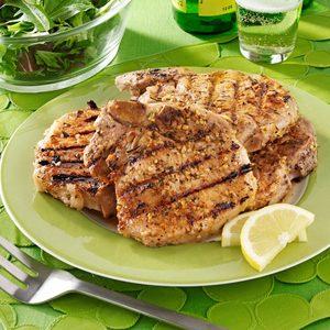 Barbecued Pork Chops with Rosemary Lemon Marinade