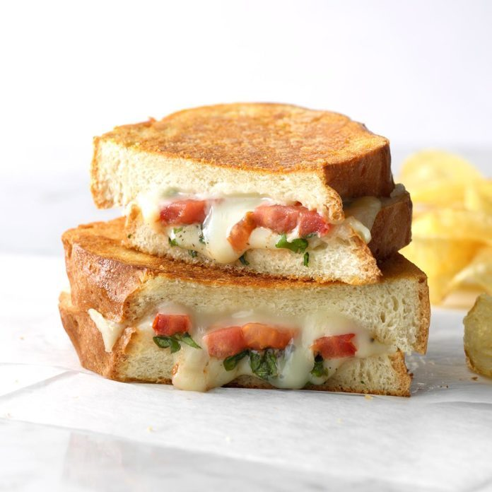 Goes with Minestrone Soup: Basil-Tomato Grilled Cheese