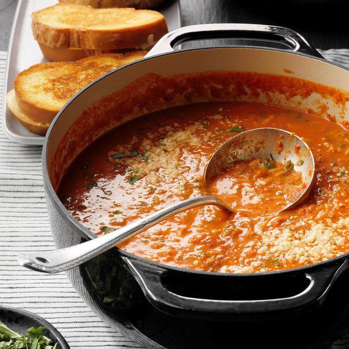 Basil Tomato Soup with Orzo