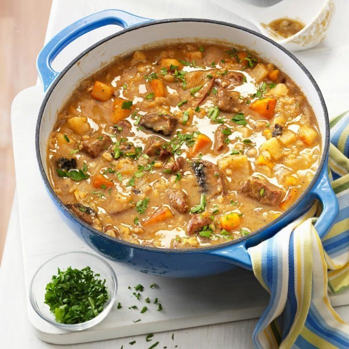 Beef Barley Soup with Roasted Vegetables