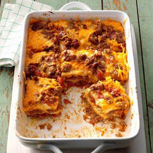 Beef Enchilada Lasagna Casserole