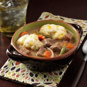 Beef Stew with Cheddar Dumplings