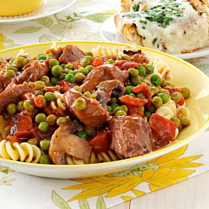 Beef Tip Stew over Fusilli