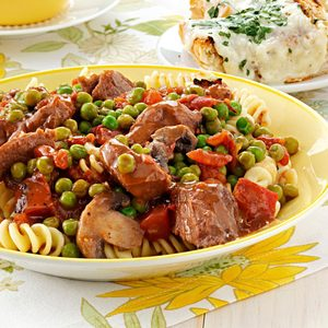Beef Tip Stew over Fusilli