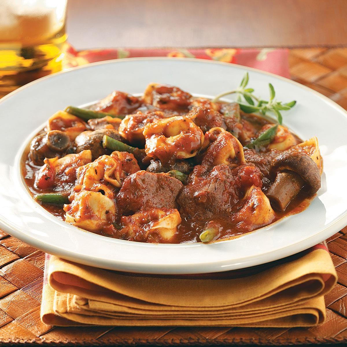 Beef & Tortellini Marinara with Green Beans