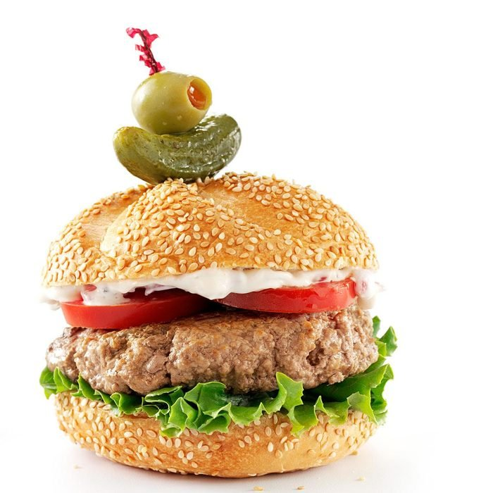 Best Beefy Burgers with Roasted Onion & Peppercorn Mayo