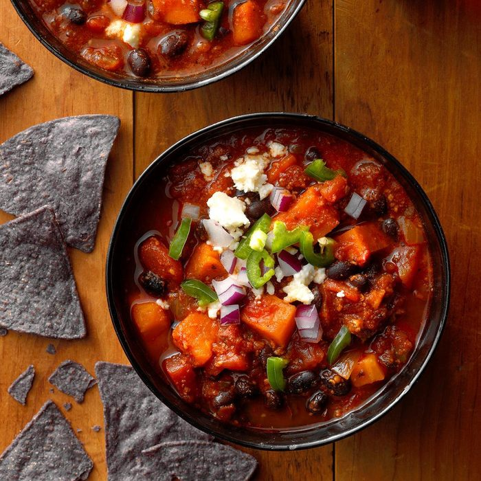 Black Bean, Chorizo & Sweet Potato Chili
