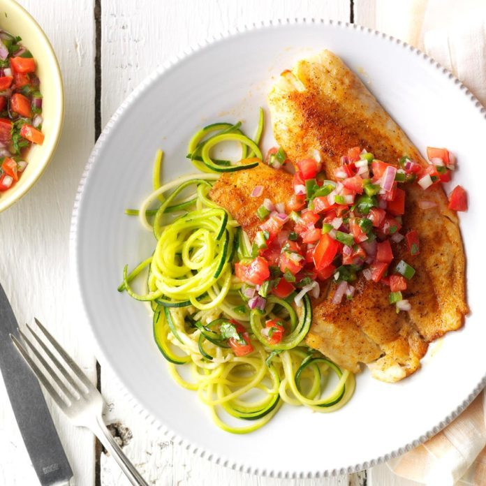 Blackened Tilapia with Zucchini Noodles