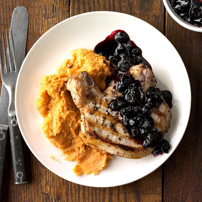 Blueberry Chops with Cinnamon Sweet Potatoes