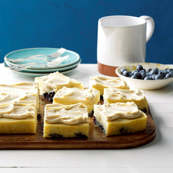 Blueberry Pan-Cake with Maple Frosting