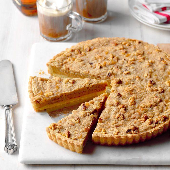 Bourbon Pumpkin Tart with Walnut Streusel