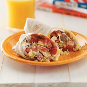 Breakfast Burritos with Sausage and Cheese