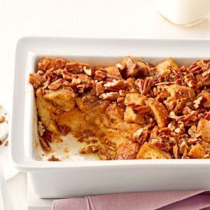 Breakfast Praline Bread Pudding
