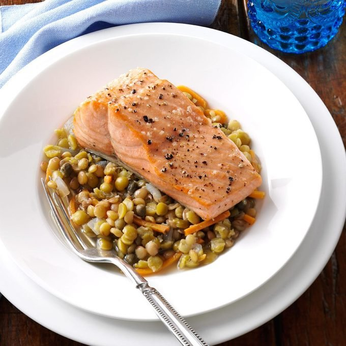 Broiled Salmon with Mediterranean Lentils