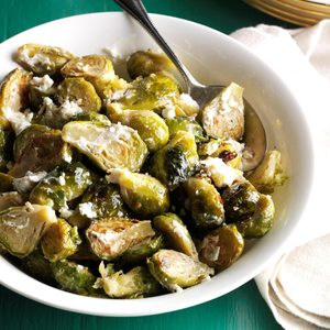 Brussels Sprouts with Garlic & Goat Cheese