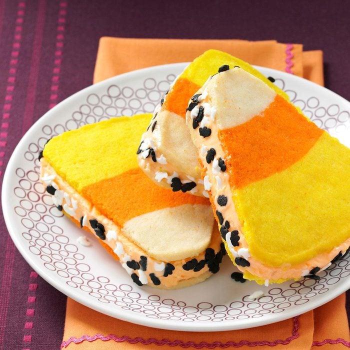 Candy Corn Ice Cream Sandwiches