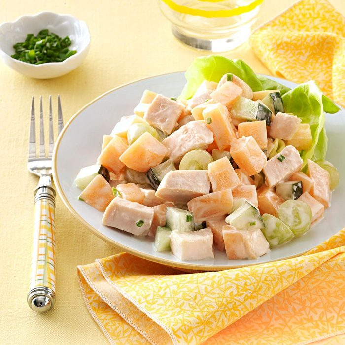 Cantaloupe Chicken Salad With Yogurt Chive Dressing Exps152819 Thhc2377563c05 01 7bc Rms 3