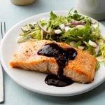 Cedar Plank Salmon with Blackberry Sauce