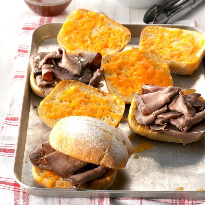 Goes with Vegetable Soup: Cheddar French Dip Sandwiches