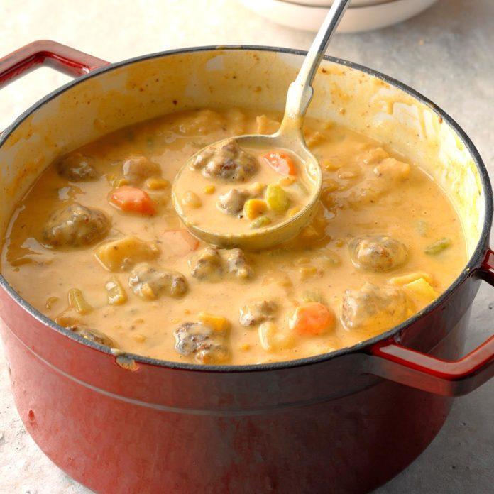 Cheesy Meatball Soup