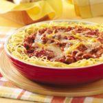 Cheesy Sausage Spaghetti Pie