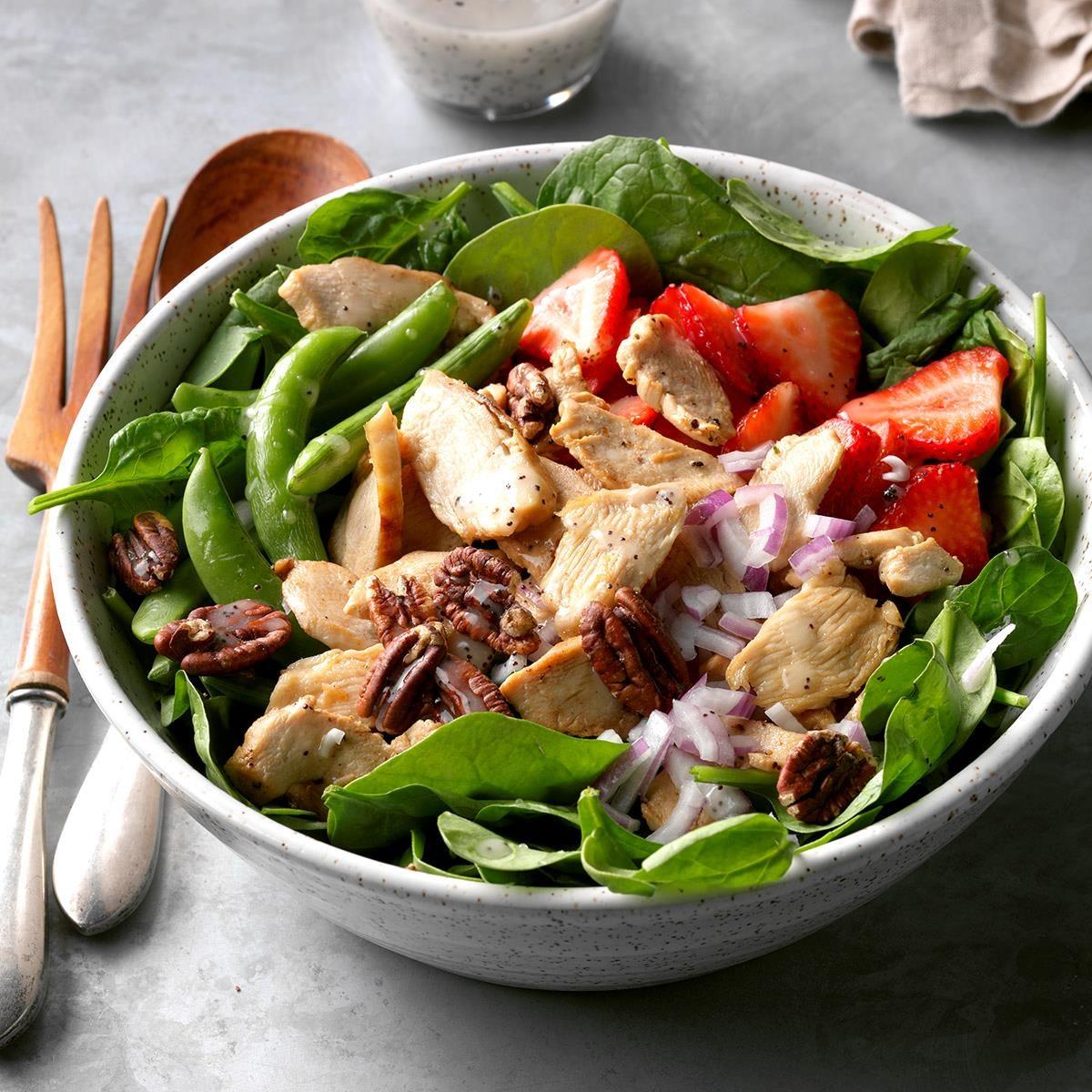 Chicken Poppy Seed Spinach Salad