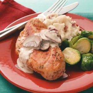 Chicken Portobello with Mashed Red Potatoes