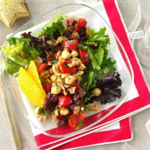 Chickpea Pancetta Salad with Cran-Orange Vinaigrette