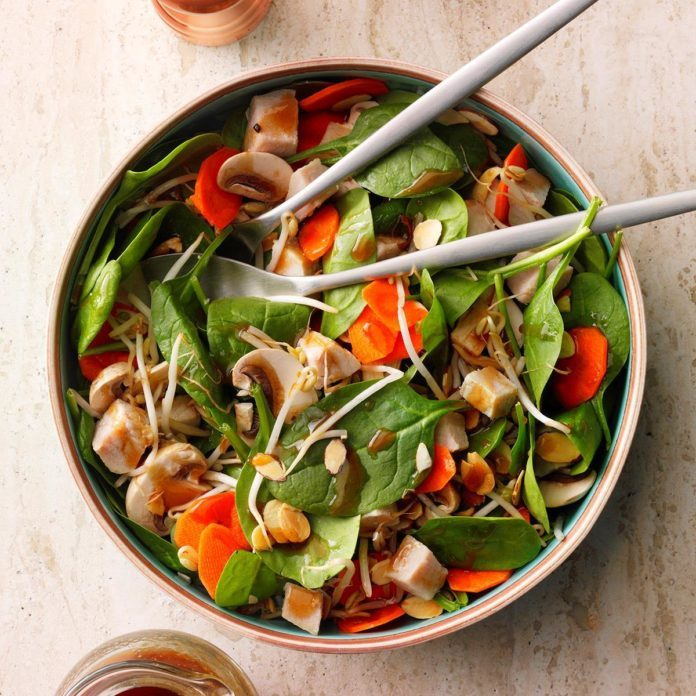 Chinese spinach almond salad