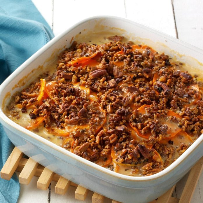 Chipotle Scalloped Sweet Potatoes with Spiced Pecans