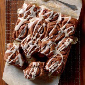 Chocolate Cinnamon Rolls with Icing