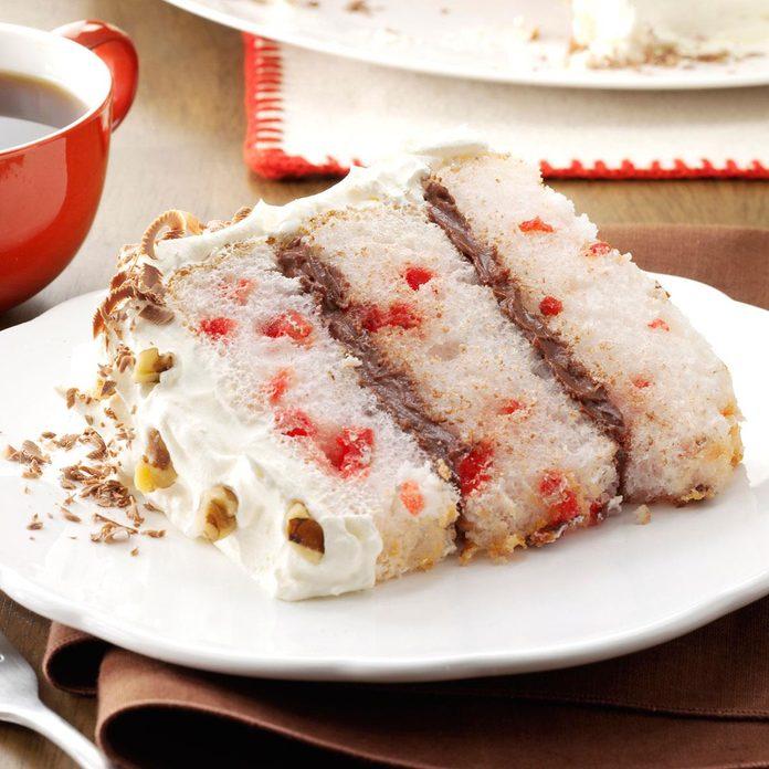Chocolate-Filled Cherry Angel Cake