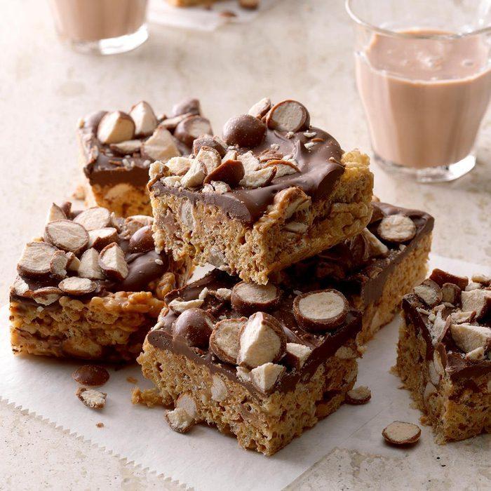 Chocolate Malt Crispy Bars