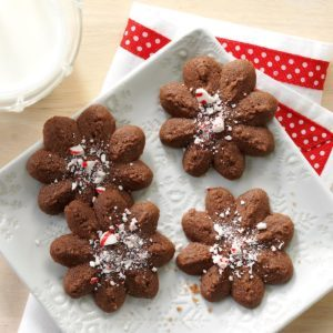 Chocolate Peppermint Spritz Cookies