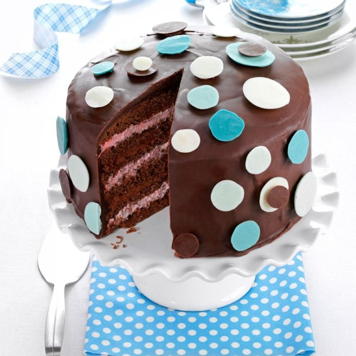 Chocolate-Raspberry Polka Dot Cake