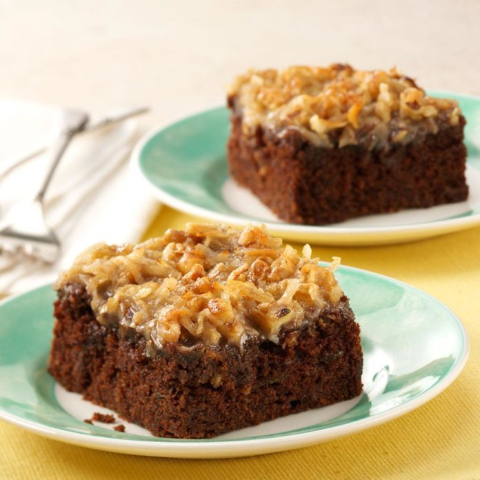 Illinois: Chocolate Zucchini Cake with Coconut Frosting