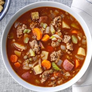 Chunky Sausage Lentil Soup