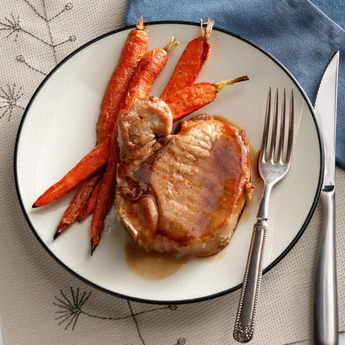 Cider-Glazed Pork Chops with Carrots