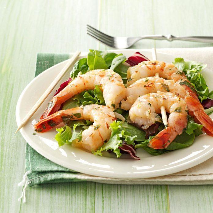 Cilantro-Basil Grilled Shrimp