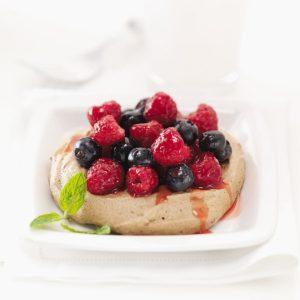 Cocoa Meringues with Berries