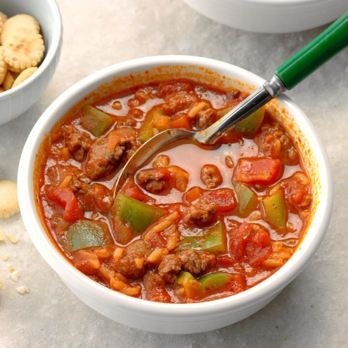 Contest-Winning Stuffed Pepper Soup
