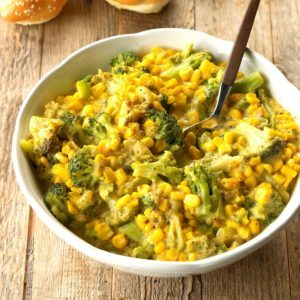 Corn and Broccoli in Cheese Sauce