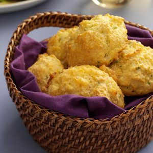 Cornmeal-Chive Drop Biscuits