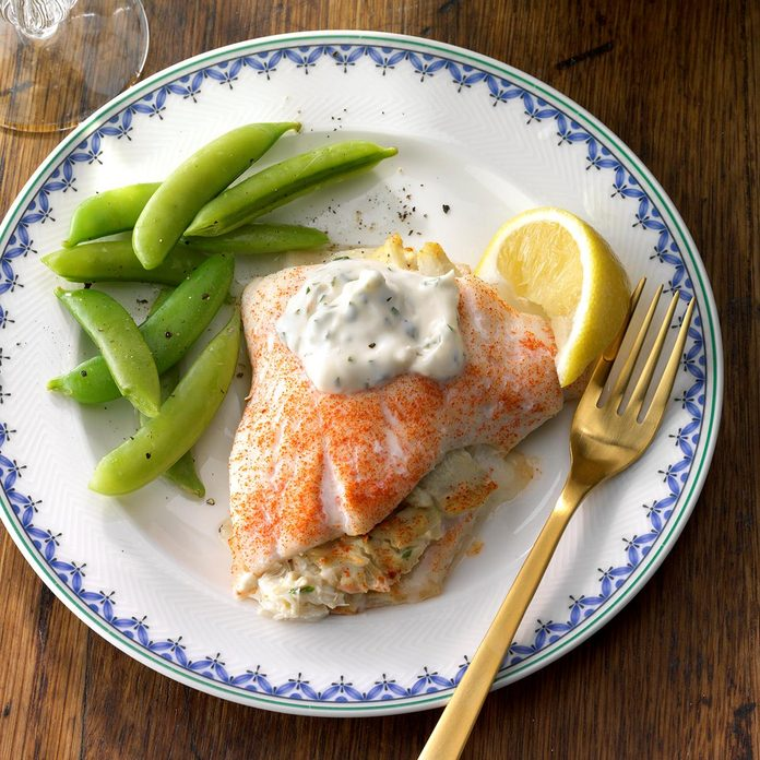 Crab-Stuffed Flounder with Herbed Aioli