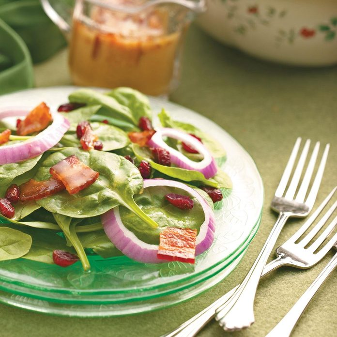 Cranberry Spinach Salad with Bacon Dressing