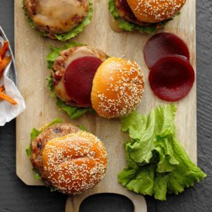 Cranburgers with Sweet Potato Fries
